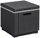 Allibert by Keter Rattan Ice Cool Box Outdoor Garden Furniture, Graphite, 39 x 39 x 43 cm