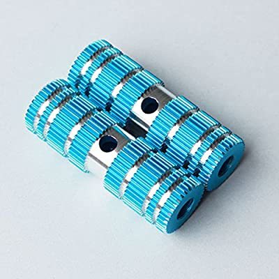 2 PCS Kid Size Cylindrical Striated Design Long-Lasting Alloy Bike Pegs Fits Most Normal Bicycle Axles Blue Model (2.64in Length, 0.35in Diameter Hole, 0.87in Width)