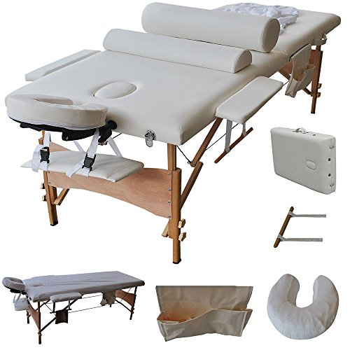 Folding Portable massage Table Facial SPA Bed Professional Massage Bed With Carrying Case 84''White