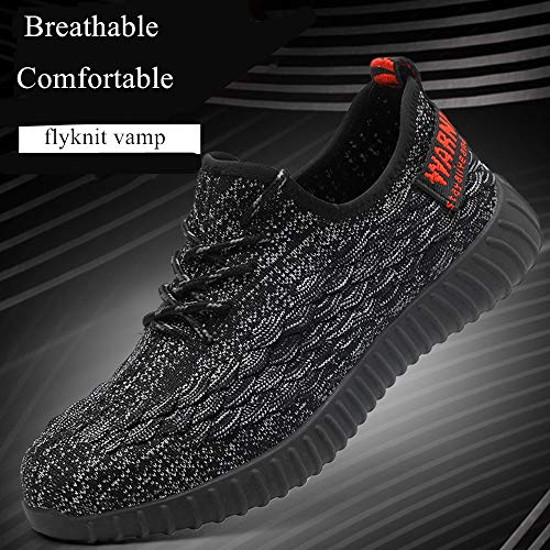 Men Fashion Safety Shoes Breathable Flying Woven Anti-smashing Steel Toe Caps Anti-piercing Fiber Mens Work Shoes by MEYZEZE (Image #5)