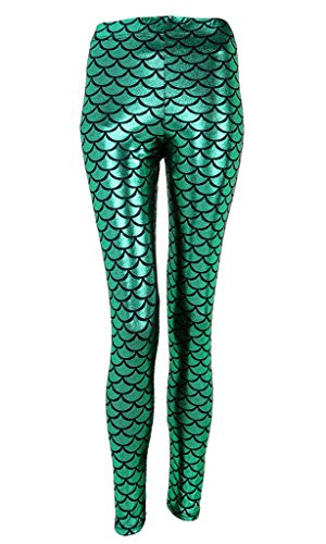 Ayliss New Mermaid Fish Scale Printed Leggings Stretch Tight Pants,Green -