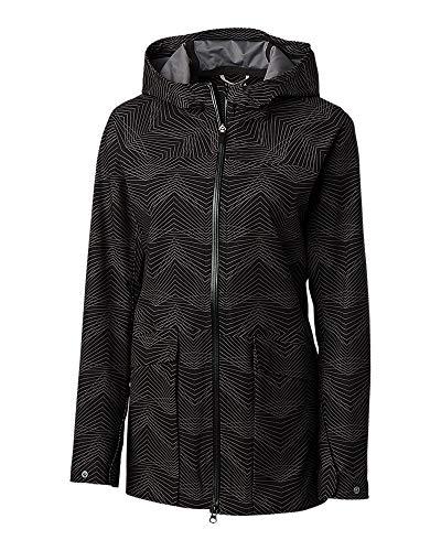 - Cutter & Buck Women's Waterproof Weathertec Monsoon Long Hood Jacket with Pockets, Black, XX-Large