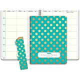 Hardcover 7 Period Teacher Lesson Plan; Days Horizontally Across The Top (W101) (+) Bonus Clip-in Bookmark (Gold Dots Turquoise)