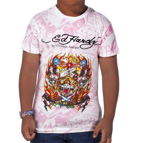 Ed Hardy Big Girls' Tiger T-Shirt - White - Large