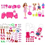 WNOLTEAB 138 PCS Doll Accessories Set and 1 Girl Doll,Toy Furniture Kitchenware Shoes Bags Necklace Mirror Hanger for Barbie Dolls
