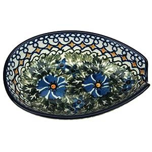 Ceramika Artystyczna Polish Hand Painted Spoon Rest (Blue Flowers and Yellow Diamonds)