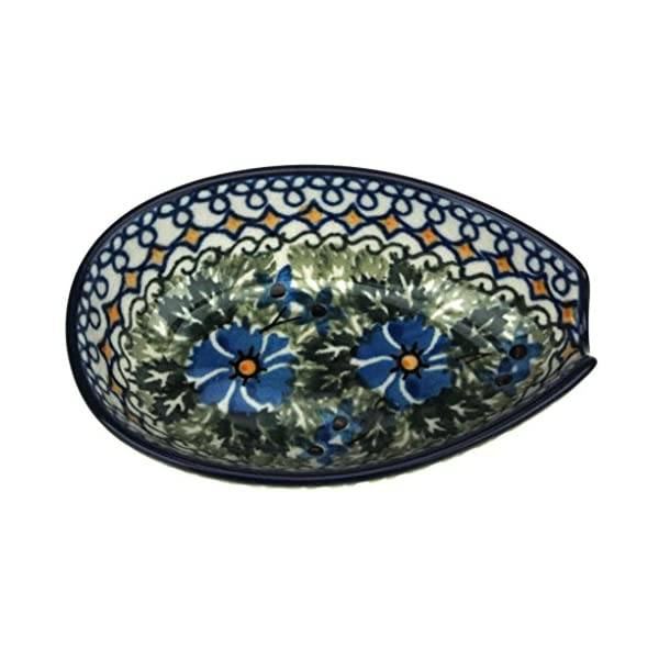 Ceramika Artystyczna Polish Hand Painted Spoon Rest (Blue Flowers and Yellow Diamonds)