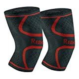 REEHUT Knee Compression Sleeve 1 Pair Knee Brace Support for Sports, Running, Jogging, Joint Pain Relief, Arthritis and Injury Recovery (2 Pack) - Red, M