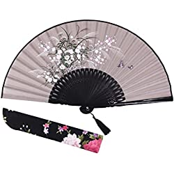 "Amajiji folding fan, 8.27""(21cm) Women Hand Held Silk Folding Fans with Bamboo Frame, Hollow Carve Patterns Bamboo Frame Women Hand Folding Fans Gift fan Craft fan (Gray)"