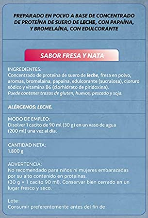 Whey Protenium fresa y nata | Proteína de suero de leche + vitamina B6 + papaína + 100% natural | 1800 g.: Amazon.es: Salud y cuidado personal