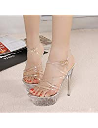 Womens Lucite Clear Strappy Sandals