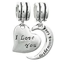 Sterling Silver ''I Love You to The Moon & Back'' Heart European Style Dangle Bead Charm Set