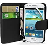 Samsung Galaxy S3 mini I8190 Black Side Flip Wallet Leather Case Covers, and Mini Stylus By Mobile_Mania