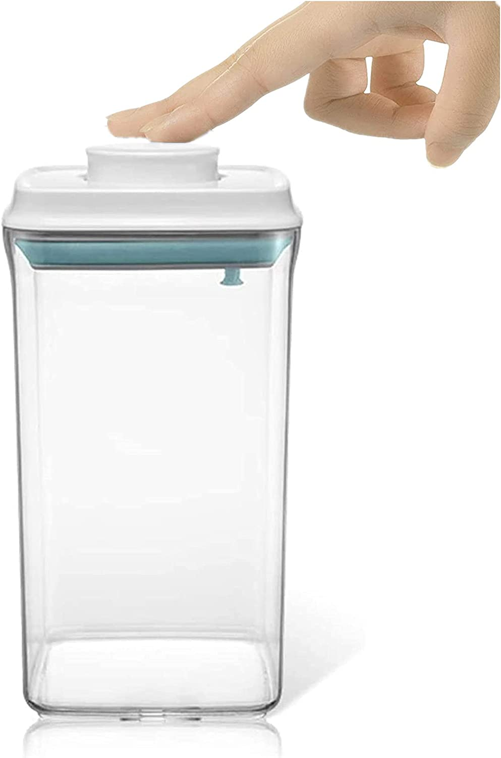 2 QT - Pop Up Airtight Storage Container, Super Easy to Open & Lock, BPA-Free, Square Plastic Storage Jar
