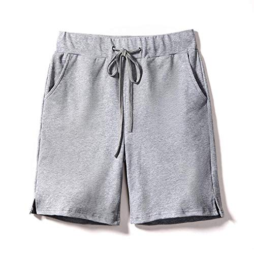 Shorts Pull On Drawstring - Gooket Women's Elastic Waist Comfy Jersey Knit Pull-On Bermuda Shorts with Drawstring Grey Size M