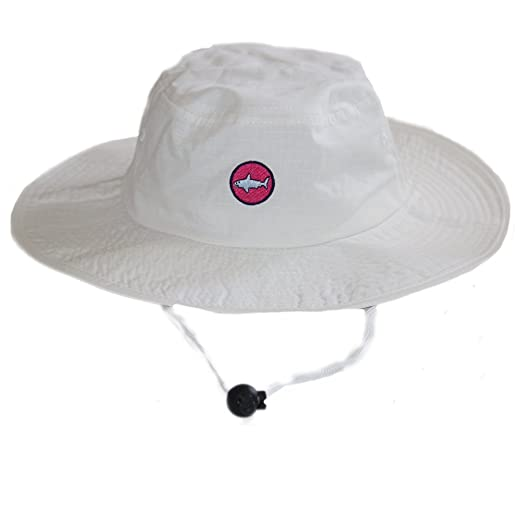 Image Unavailable. Image not available for. Color  White and Hot Pink Shark UPF  50+ Sun Protective 100% Cotton Bucket Hat with 471f1ae3bfc4