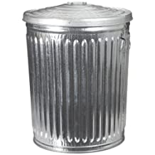 """Witt Industries WCD32CL Galvanized Steel 32-Gallon Light Duty Trash Can with Lid, Round, 21-1/4"""" Diameter x 27-1/2"""" Height"""