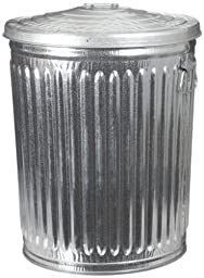 Witt Industries WCD24CL Galvanized Steel 24-Gallon Light Duty Trash Can with Lid, Round, 19-1/2\