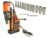Cayken SCY-42HD 1.65'' Magnetic Drill Press with 1700W Variable Speed Motor, Weldon Shank, 13 Piece 1'' Cut Depth Annular Cutter Kit