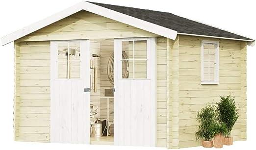 alpholz Jardín Casa EVERE de madera Picea macizas | cabaña Jardín con techo cartón | Caseta Natural Sin farbbeha ndlung (330 x 270 cm): Amazon.es: Jardín