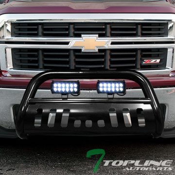 36W CREE LED Fog Lights For 99-07 Chevy Silverado 00-06 Suburban//Tahoe ; 99-07 GMC Sierra 00-06 Yukon 1500 Topline Autopart Matte Black Bull Bar Brush Push Bumper Grille Guard With Skid Plate