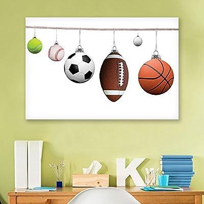 Canvas Wall Art Sports Theme - Tennis Ball, Baseball, Soccer, Football,Golf Ball Basketball on a String - Giclee Print Gallery Wrap Modern Home Art Ready to Hang - 12x18 inches