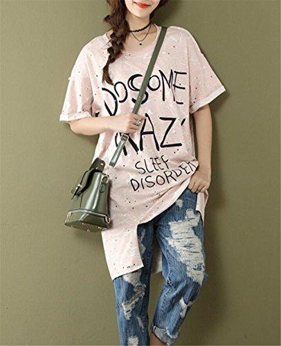 Corta Camiseta Manga T de Top Blusas Aeneontrue Mujeres Cuello Casual Blusa Camiseta Verano Alfabeto de Impreso Redondo Top zHqqCxw8