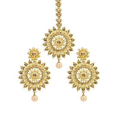 cheap Bindhani Indian Head Bridal Wedding Jewelry Maang Tikka Jewelry Mang Tika Earrings Set big discount