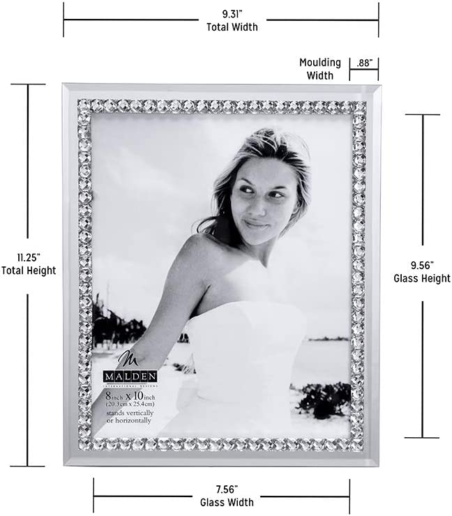 5-Inch by 7-Inch Malden International Designs Brilliance Jeweled Mirrored Glass Picture Frame