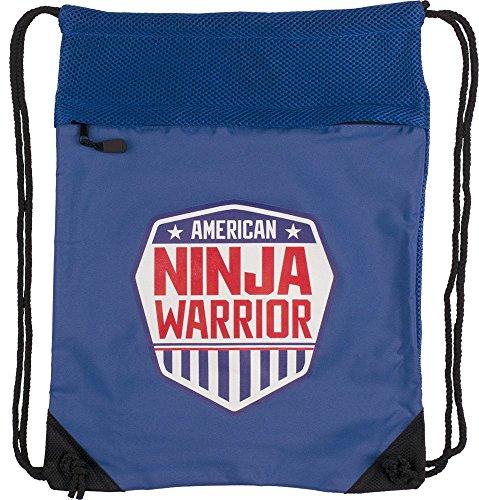 American Ninja Warrior Polyester Drawstring Cinch Backpack, Royal