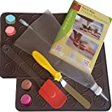 Macaron Baking Kit by Petits Desserts - French Macaroon Making All In One Set With 2 Silicone Mats Piping Bag Silicon Spatula and Angled Icing Spatula - With Free Step By Step Guide - Easy - No Mess