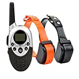 Wireless Rechargeable and Water Resistant Anti Bark Dog Training Collar with Remote 8 Levels of Shock and Vibration Correction Plus Sound Mode (for 2 dogs)