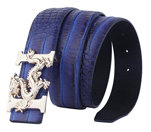 (ALAKA Letter H Dragon Buckle Alligator Pattern Leather Mens Belt (Blue), Length 110cm Width 3.8cm (L43.3'' W1.5''))