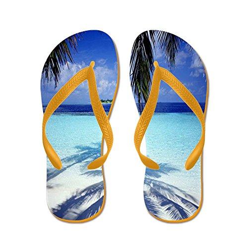 Cafepress Paradise Tropical Island - Infradito, Sandali Infradito Divertenti, Sandali Da Spiaggia Arancione