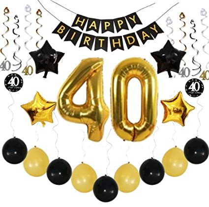 Com 40th Birthday Party Decorations Pack Black Gold With