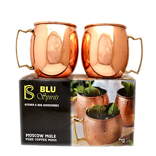 BluSpirits 100% Pure Solid 16 Oz Moscow Mule Copper Mug Set of 2 for Cocktails  Russian Mules.