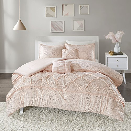 (Intelligent Design Adele Ultra Soft Microfiber Metallic Print Bed Comforter Set Twin XL Size, Twin/Twin, Blush, Gold )