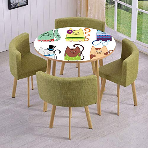 Round Table/Wall/Floor Decal Strikers/Removable/Cute Cat Illustration Series with Different Fashion Styles Females Trendy Pets Little Paws/for Living Room/Kitchens/Office Decoration