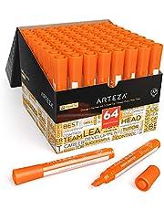 ARTEZA Lot surligneurs | 64 feutres orange fluo pointe large | Encre orange fluo néon |Fournitures scolaires, fourniture de bureau | Accessoires bureau et maison | Marqueur fluo pointe biseautée