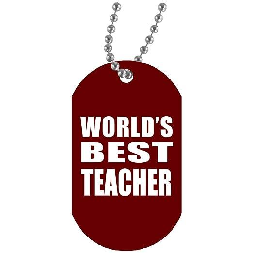 Worlds Best Teacher - Military Dog Tag Maroon Collar ...