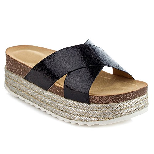 3ef7e7ed582 ShoBeautiful Women s Espadrille Platform Slide Sandals Slip on Flat Summer  Beach Casual Shoes GG10