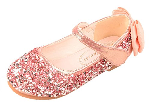 iDuoDuo Girls Twinkle Toe Sequins Heel Bowknot Dance Flats Dress Mary Jane Shoes Pink 9.5 M US Toddler ()