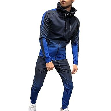a8bbda0756426 Vertvie Homme 2 Pièces Survêtement Ensemble Veste Sweatshirt Zipper  Pantalon de Sport Jogging Couleur Gradient (
