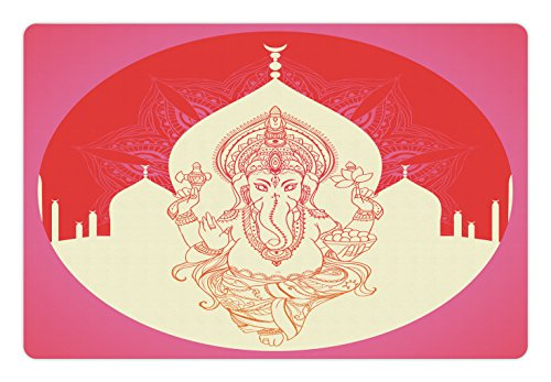 Asian Medallion (Bohemian Pet Mats for Food and Water by Ambesonne, Ancient Elephant Goddess with Asian Temple in Medallion Yoga Retro Style, Rectangle Non-Slip Rubber Mat for Dogs and Cats, Red Pink Yellow)