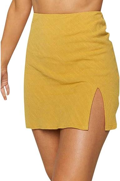 Moda Mujer Sexy Sólido Elástico Apertura Tenedor Falda Corta ...