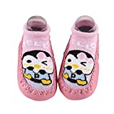 Inkach Toddler Anti-Slip Slipper Floor Socks Unisex Baby Cute Cartoon Non-Slip Booties Shoes (12cm=4.7'', Pink)