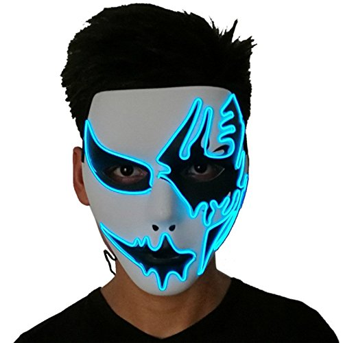 sweetyhomes Devil Face Light up Mask EL Wire Halloween Cosplay LED Mask for Festival Parties, Blue,One Size]()