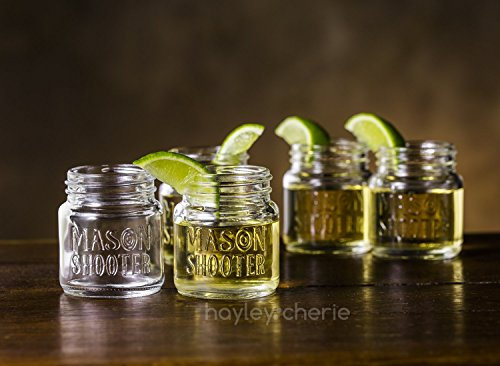 Hayley Cherie - Mason Jar Shot Glasses with Lids (Set of 8) – Mini Mason Shooter Glass - 2 Ounces by Hayley Cherie (Image #4)