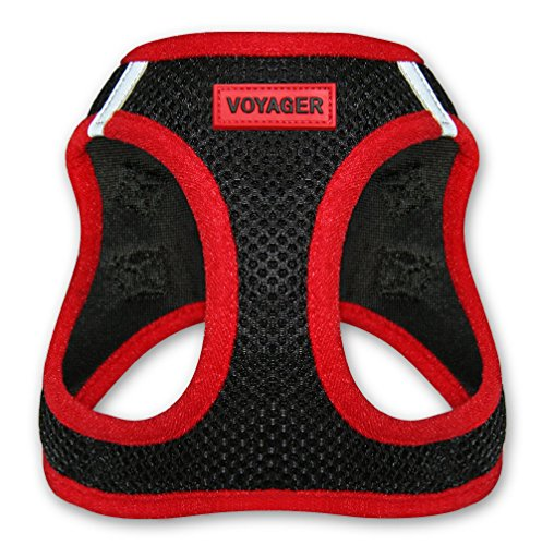 "Voyager Step-In Air Dog Harness - All Weather Mesh, Step In Vest Harness for Small and Medium Dogs by Best Pet Supplies - Red, Medium (Chest: 16"" - 18"")"