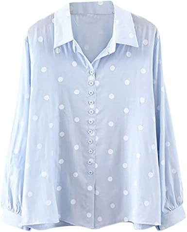 Mujer Camisa de Lunares con Solapa Camiseta de Gasa de Manga Larga T-Shirt LANSKIRT: Amazon.es: Ropa y accesorios